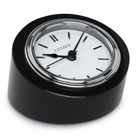 Workplace Collection Black Crystal Round Desk Clock by Citizen