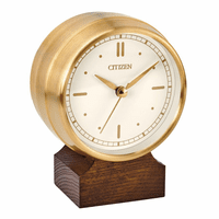 Workplace Collection Brushed Gold & Wood Desk Clock by Citizen