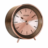 Workplace Collection Rose Gold & Wood Desk Clock by Citizen