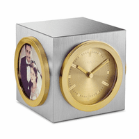 Workplace Collection Silver and Gold Tone Cube Clock with Picture Frame by Citizen