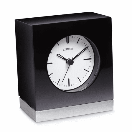 Workplace Collection Square Black & Silver Desk Clock by Citizen