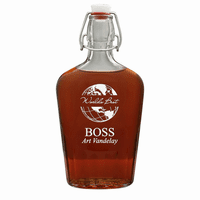 World's Best Boss 17 Oz Vintage Glass Flask