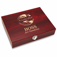 World's Best Boss Black Flask Set with Wooden Box