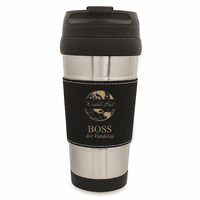 World's Best Boss Black Leatherette Travel Mug