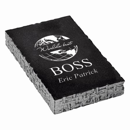 World's Best Boss Black Marble Paperweight
