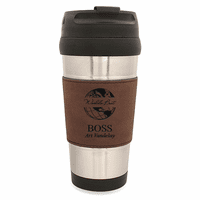 World's Best Boss Dark Brown Leatherette Travel Mug