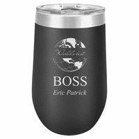 World's Best Boss Personalized 16 Ounce Black Insulated Stemless Wine Glass