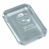 World's Best Boss Rectangular Glass Paperweight