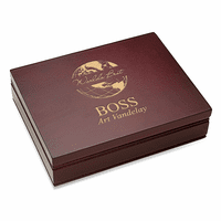 World's Best Boss  Rosewood Finish Playing Card Box