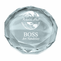 World's Best Boss Round Glass Paperweight
