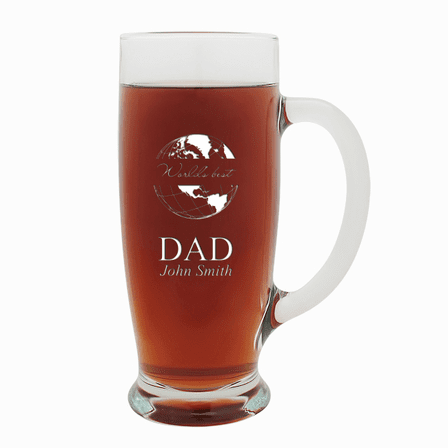 World's Best Dad  18 Ounce Pilsner Glass with Handle