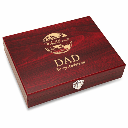 World's Best Dad Black Flask Set with Wooden Box