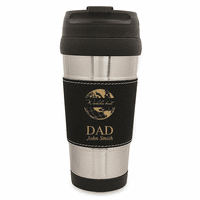 World's Best Dad Black Leatherette Travel Mug