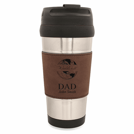 World's Best Dad Dark Brown Leatherette Travel Mug