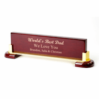 World's Best Dad Personalized Desktop Walnut Name Plate
