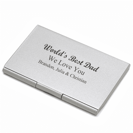 worlds best dad engraved business card case - Metal Business Card Case