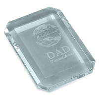 World's Best Dad Rectangular Glass Paperweight
