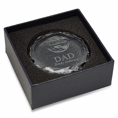 World's Best Dad Round Glass Paperweight
