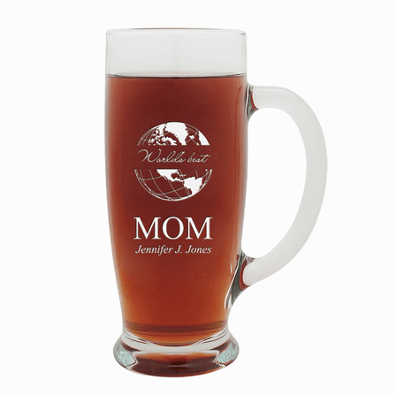 World's Best Mom  18 Ounce Pilsner Glass with Handle