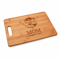 World's Best Mom Bamboo Cutting Board With Handle