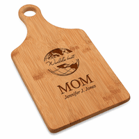 World's Best Mom Bamboo Paddle Shape Cutting Board
