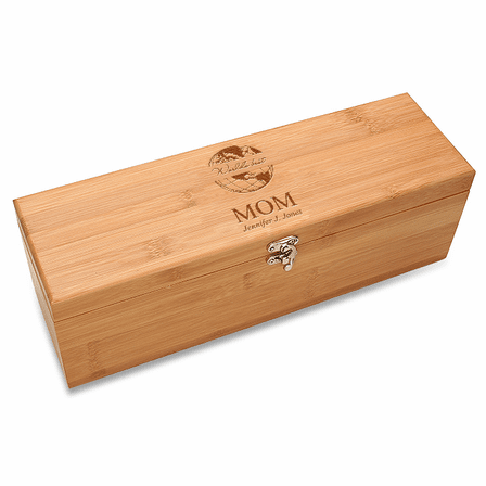 World's Best Mom Bamboo Wine Box