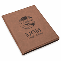 World's Best Mom Brown Leatherette Mini Portfolio