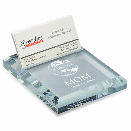 Worlds Best Mom Crystal Business Card Holder Paperweight