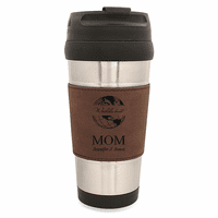 World's Best Mom Dark Brown Leatherette Travel Mug