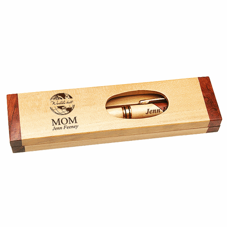 World's Best Mom Maple & Rosewood Engraved Pen and Box