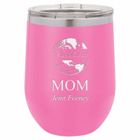 World's Best Mom Personalized 12 Ounce Pink Insulated Stemless Wine Glass