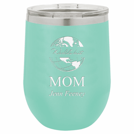 World's Best Mom Personalized 12 Ounce Teal Insulated Stemless Wine Glass