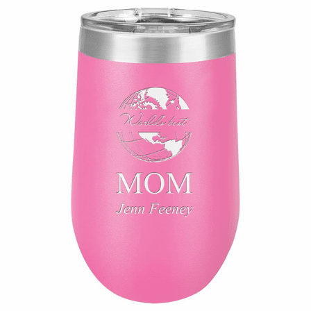 World's Best Mom Personalized 16 Ounce Pink Insulated Stemless Wine Glass