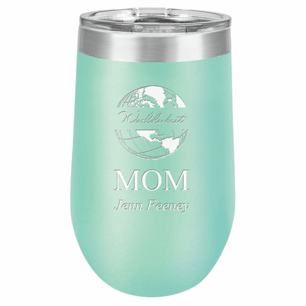 World's Best Mom Personalized 16 Ounce Teal Insulated Stemless Wine Glass
