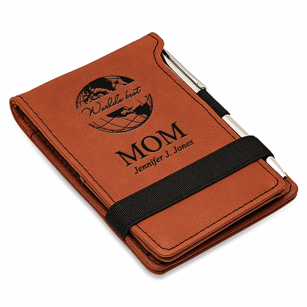 World's Best Mom Rawhide Leatherette Notepad & Pen