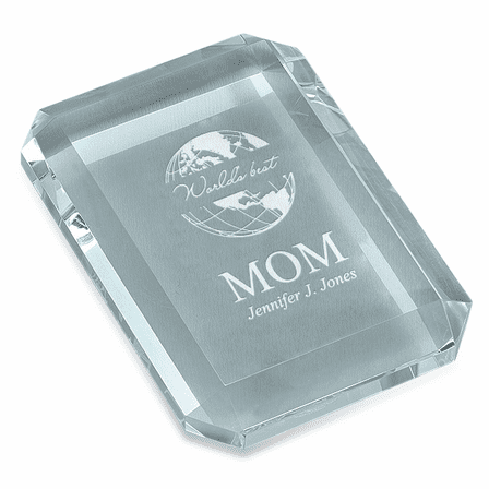 World's Best Mom Rectangular Glass Paperweight