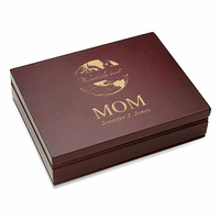 World's Best Mom  Rosewood Finish Playing Card Box