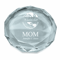 World's Best Mom Round Glass Paperweight