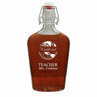 World's Best Teacher 17 Oz Vintage Glass Flask