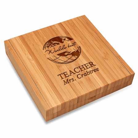World's Best Teacher Bamboo Cheese Set With Tools