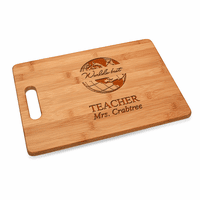 World's Best Teacher Bamboo Cutting Board With Handle