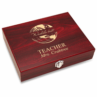 World's Best Teacher Black Flask Set with Wooden Box