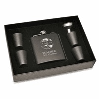 World's Best Teacher Black Flask & Shot Cups Gift Set