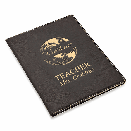 World's Best Teacher Black Leatherette Mini Portfolio