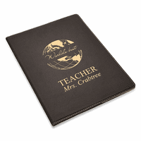 World's Best Teacher Black Leatherette Portfolio & Pad Holder