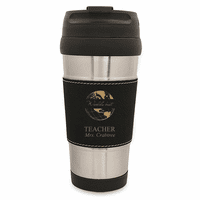 World's Best Teacher Black Leatherette Travel Mug