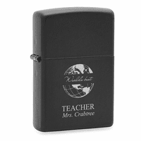 World's Best Teacher Black Matte Engravable Zippo Lighter