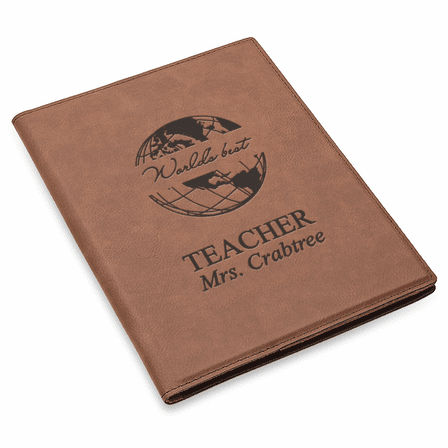 World's Best Teacher Brown Leatherette Mini Portfolio