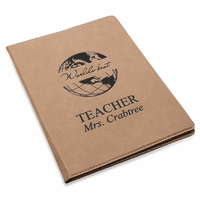 World's Best Teacher Brown Leatherette Portfolio & Pad Holder