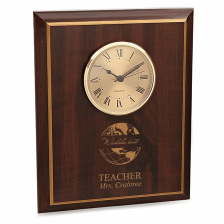 World's Best Teacher Cherry Finish Recognition Wall Clock